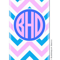 CUSTOM iPhone 5 4s 4 Samsung Galaxy s3 siii Phone Case - Two Tone Chevron Light Pink Blue Circle - 3 Letter Initials - Monogram Personalized
