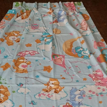 Care Bears Vintage Curtain Window Curtain Rare Vintage 1980s Kitsch Vintage Care Bears 80s Vintage Rare Care Bears Item Vintage Curtains 80s