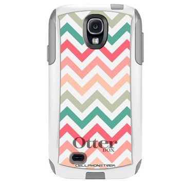 Otterbox Commuter Series Chevron Peach Pink Green Red Pattern Hybrid Case for Samsung Galaxy S4