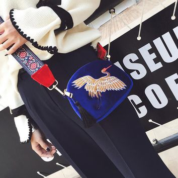 New Women's Suede  Bag embroidered Red Crowned Crane Evening Clutch Purses Velvet Shoulder Bags Woman tassel bag Bolsas