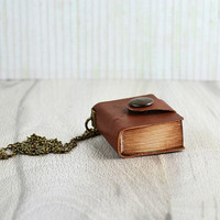 Mini notebook leather cover Book keychain Leather mini journal Book necklace Brown leather book Small old notebook Leather necklace notebook