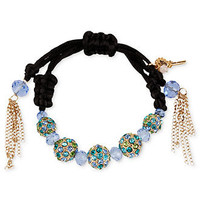 Betsey Johnson Bracelet, Gold-Tone Blue and Green Crystal Fireball Black Cord Bracelet - Fashion Jewelry - Jewelry & Watches - Macy's
