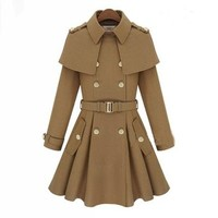 Military Uniform Style Coat with Belt 090345
