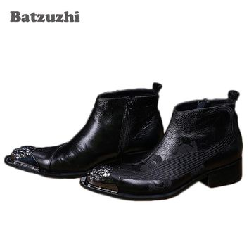 Batzuzhi Luxury Men's Shoes Italian Style Black Leather Boots Pointed Metal Toe Designer's Shoes Men Botas Masculina, 38-46
