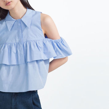 FRILLED POPLIN SHIRT