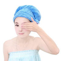 Holiberty Women Cute Bowknot Soft Coral Fleece Ultra Absorbent Shower Cap Hat Bathing Cap Elastic Band Spa Hair Drying Dry Towel Wrap Hat