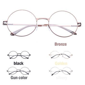 HOT SELL Man and Women Retro Clear Lens Glasses Frame Plain Mirror Big Round Metal Optical Frame For Girl Eyeglass Optical Lens