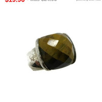 ON SALE! Vintage Sterling Silver Faceted Tiger Eye Ring, Size 6