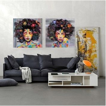 2pcs/set New Graffiti Street Wall Art Abstract Modern African Women Portrait Canvas Oil Painting On Prints For Living Room
