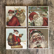Drink Coaster Set of 4, Vintage Santa Handmade Design, Ceramic Tiles, St Nick Housewarming Gift, Bar Coaster, Holiday Decor, Christmas Gift