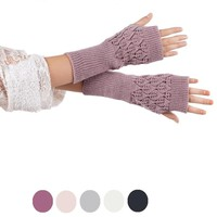 Hollow Out Leaves Knitted Gloves Knit Wrist Glove Winter Warm Workout For Women