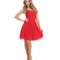 Red Pleated Chiffon Strapless Sweetheart Dress