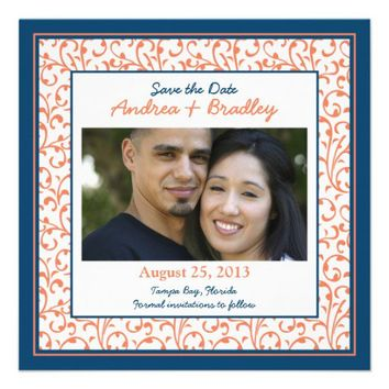 Marine Blue Coral Damask Photo Save the Date Custom Invites from Zazzle.com