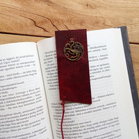 Game of Thrones bookmark / Targaryen / Leather bookmark /  Winter is coming / A Song of Ice and Fire / Fantasy / Dragon bookmark