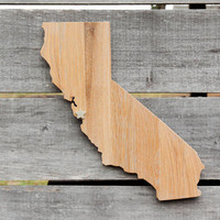 California state shape wood cutout wall art handcrafted from repurposed Oak flooring 17x14 in. Wedding Housewarming Cabin Rustic Gift Decor
