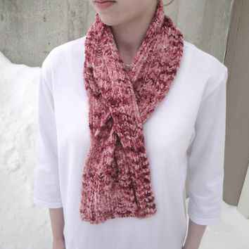 Pink Keyhole Scarf, Office Scarflette, Pull Through Ascot Neck Warmer