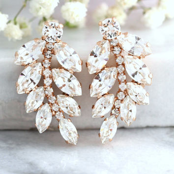 Bridal earrings, Bridal Swarovski earrings,Bridal Cluster Studs, Swarovski Bridal earrings, Boho Earrings, Gift for her, Estate Earrings