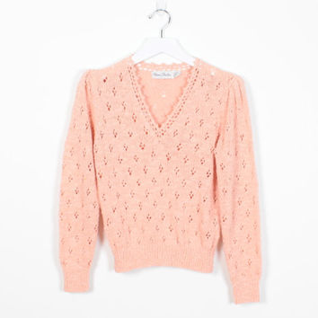 Vintage 70s Sweater Peach Apricot Pink Pointelle Knit Sweater 1970s V Neck Open Weave Crochet Knit Jumper Hippie Sweater XS Extra Small S