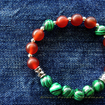 WATERMELON BEADED BRACELET Handmade bracelet Friendship bracelet Bracelet for Woman Free shipping