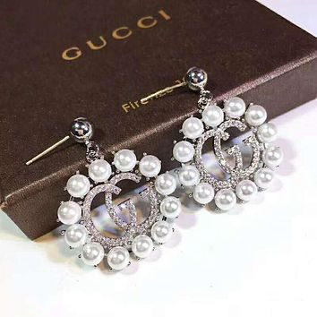 GUCCI Trending Women Stylish Circular Diamond Pearl Pendant Earrings Accessories Jewelry