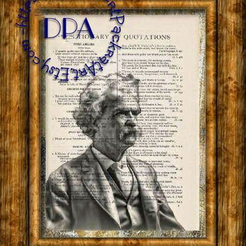 Author Mark Twain Drawing Art - Vintage Dictionary Page Art Print Upcycled Page Print