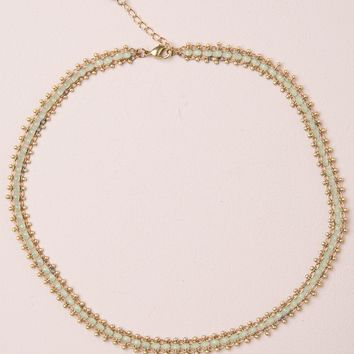 GOLD AND GREEN BEADS CHOKER