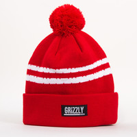 Grizzly Striped Beanie in Red