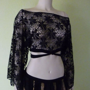 Shrug stretchy Lace black -Kimono Sleeves all Sizes Availble for Dance, Evening, Punk and Gothic Look Tiny Dancer