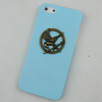 Light Green Hard Case Cover With hunger games mockingjay for Apple iPhone5 Case, iPhone 5 Cover,iPhone 5s Case, iPhone 5gs