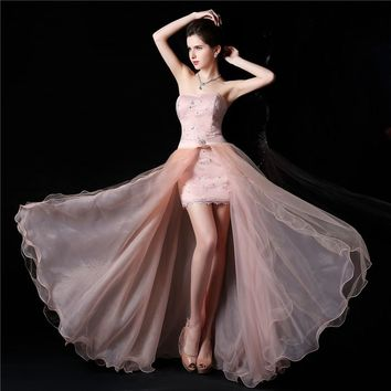Sweetheart Sleeveless high low elegant white pink lace Party Gown graduation Prom Ball Formal Evening Dress 2014 plus size maxi