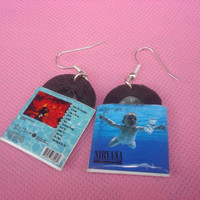 nirvana, nevermind, vinyl record miniature earrings