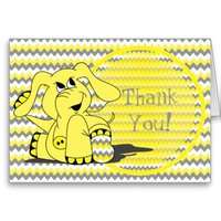 Funny Silly Yellow Elephant Thank You Note Cards