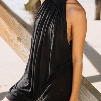 Streetstyle  Casual Black Halter Neck Off Shoulder Draped Sleeveless Bohemian Mini Dress