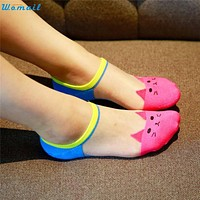 Womail Sock New Fashion Women Girls Cute Cat Face Printed Invisible Low Cut Ankle Socks 160726 Drop Shipping