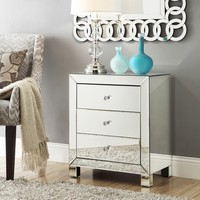 Esmond Mirrored 3-drawer Accent Table by INSPIRE Q | Overstock.com Shopping - The Best Deals on Coffee, Sofa & End Tables