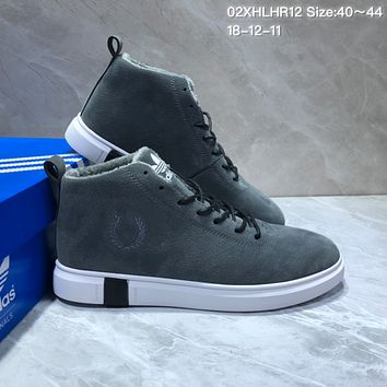 KUYOU A407 Adidas Wool Warm High Suede Skate Shoes Gray