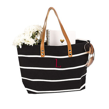 Black Personalized Black Striped Tote with Leather Handles