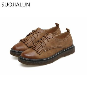 SUOJIALUN Women Flat Lace Up Round Toe Tassel Casual Shoes Lady Flat Brogue Shoes Microfiber Leather Oxford Shoes For Women