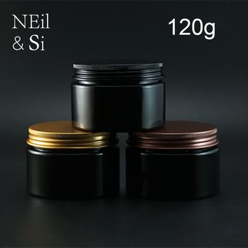 Black 120g Plastic Cream Bottle Refillable Cosmetic Body Lotion Jar Empty Handmade Mask Powder Packaging Containers