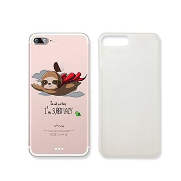 "Cute Animals Folivora Sloth ""I'm Superlazy"" Clear Transparent Plastic Phone Case Phone Cover for Iphone 7_ SUPERTRAMPshop (iphone 7)"
