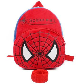 Toddler Backpack class Cute spider-man backpack baby anti lost bags cartoon plush toys packages leash toddler toys small bag AT_50_3