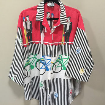 Funky 80s Blouse, Bicycle Blouse Red Black & White Striped Blouse Crazy Blouse 1980s Art Deco Restaurant Scene Blouse Bikes Pattern Shirt XL