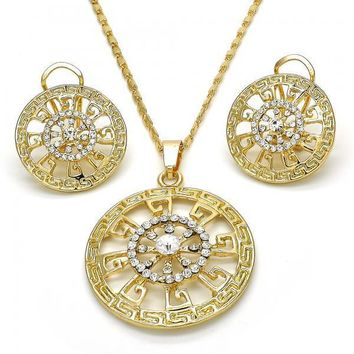 Gold Layered 10.306.0017 Earring and Pendant Adult Set, Greek Key Design, with White Crystal, Polished Finish, Golden Tone