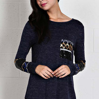 Top with Sequin Detail - Navy