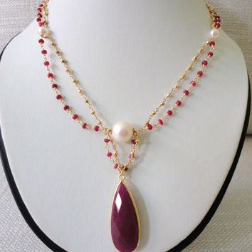 statement beadwork pearl gemstone necklace red ruby pyrite gold necklace fine jewelry victorian gemstone necklace gold chain beaded jewelry
