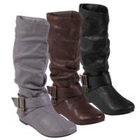 Journee Collection Womens Regular Sized and Wide-Calf Slouch Buckle Boot
