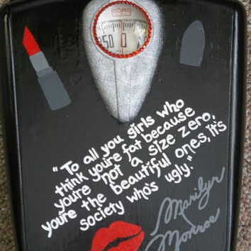 Extravagant Marilyn Monroe Quote Rhinestone Glittered Scale