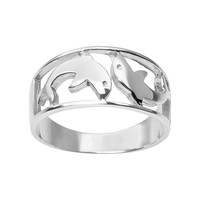 Journee Collection Sterling Silver Dolphin Ring (Grey)