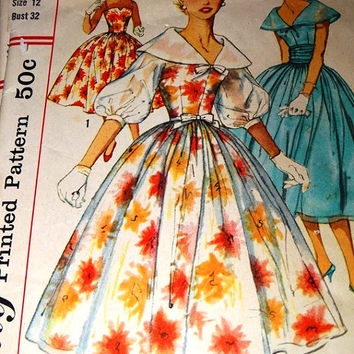 Vintage 1950's Simplicity Printed Pattern, Dress, Misses Junior Dress, Size 12 Bust 32, Prom Dress, Formal Gown, Party Dress, Pattern 1983