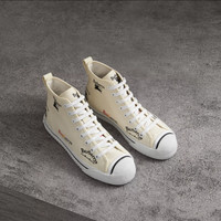 Burberry Archive Logo Cotton High-top Sneakers